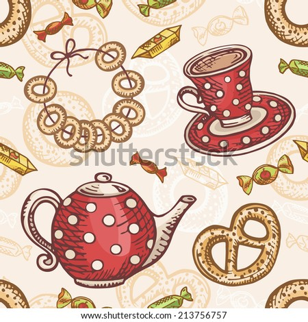 Seamless pattern with tea set. Retro style. Teapot and cup with baking. Tradition tea drinking. Colorful vector illustration. - stock vector