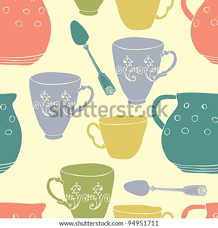 Seamless pattern with teacups and pitchers - stock vector