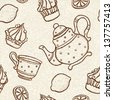 Seamless pattern with teacups, teapots, cakes and lemons - vector - stock vector