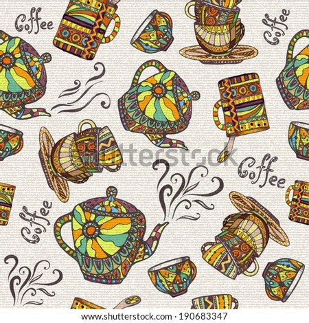 Seamless pattern with teapot and cup - stock vector
