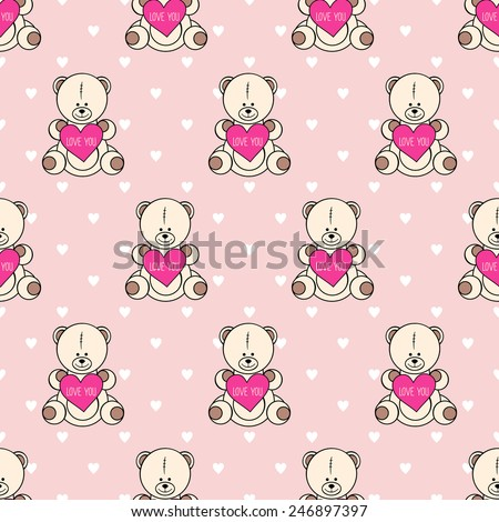 Seamless pattern with Teddy Bear for Happy Valentine's Day. Cute background for holidays. Love You card. Baby shower illustration. - stock vector