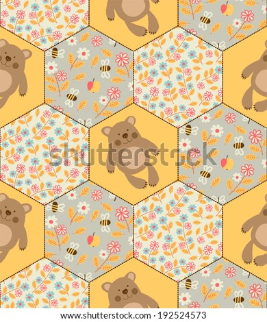 Seamless pattern with teddy bears and bees. - stock vector