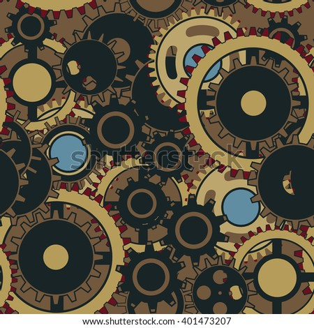 Seamless pattern with the gears and cogwheels. Vector wallpaper in steampunk style. - stock vector