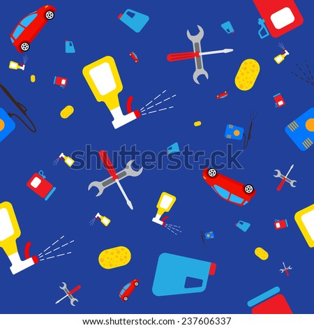 Seamless pattern with the image of machines and accessories. Vector illustration for your design. - stock vector