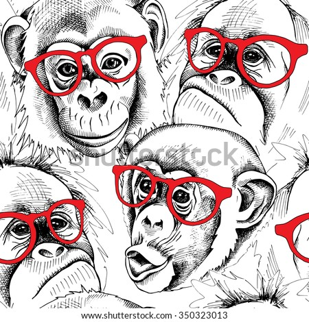 Seamless pattern with the image of the monkey portraits with the glasses. Vector illustration. - stock vector
