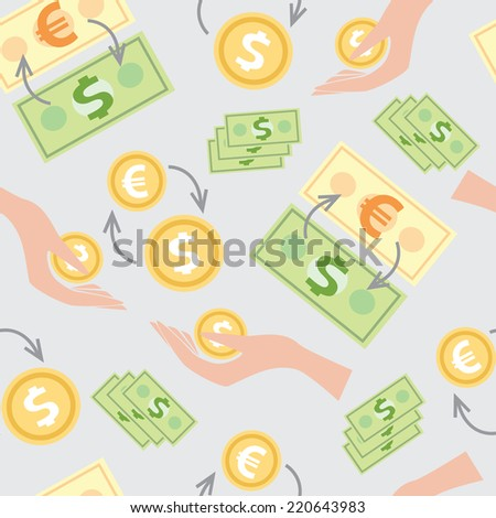 Seamless pattern with the image of wages, money, Finance, background for websites - stock vector
