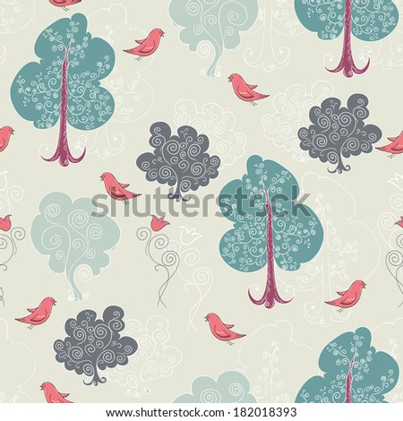 seamless pattern with the trees and birds - stock vector