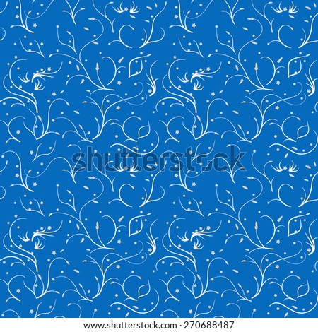 Seamless pattern with thin stems and flowers, white on blue - stock vector