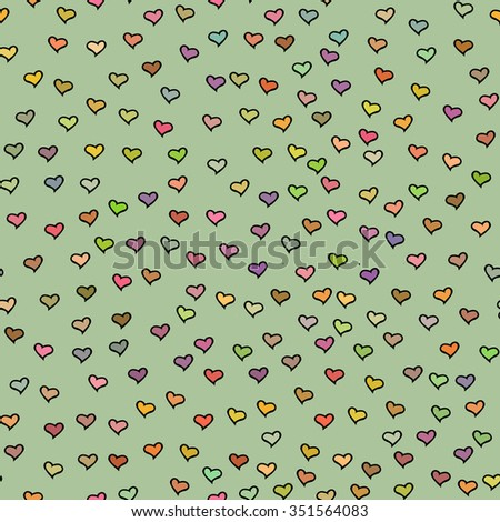 Seamless pattern with tiny colorful hearts. Abstract repeating. Cute backdrop. Green background. Template for Valentine's, Mother's Day, wedding, scrapbook, surface textures. Vector illustration. - stock vector