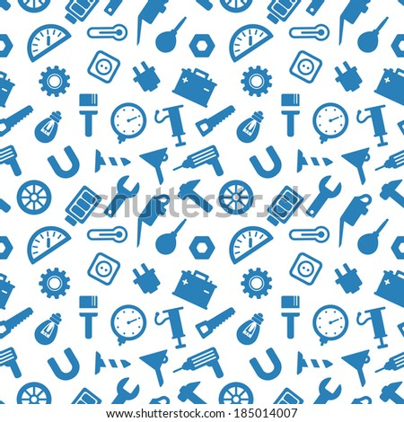 seamless pattern with tools, carpentry tools blue icons on white background - stock vector
