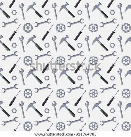 Seamless pattern with tools for repair and construction on white background. Vector illustration. - stock vector