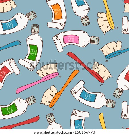 Seamless pattern with tooth paste and brushes - stock vector