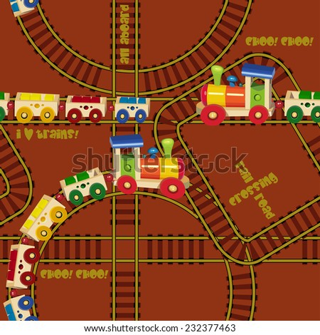 Seamless pattern with trains and railroad. Design for kids. Vector illustration in cartoon style. - stock vector