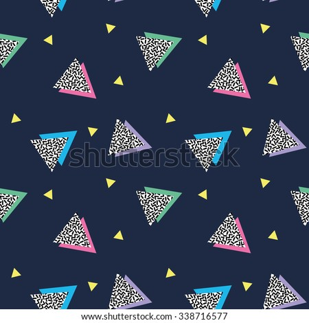 Seamless pattern with triangles in nineties style 2 - stock vector