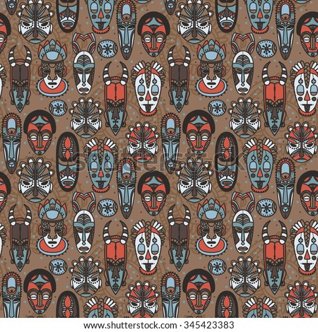 seamless pattern with tribal african masks, vector illustration - stock vector