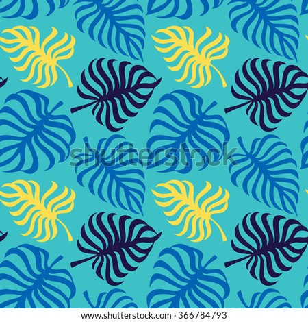 Seamless pattern with tropic leaves of monstera - stock vector
