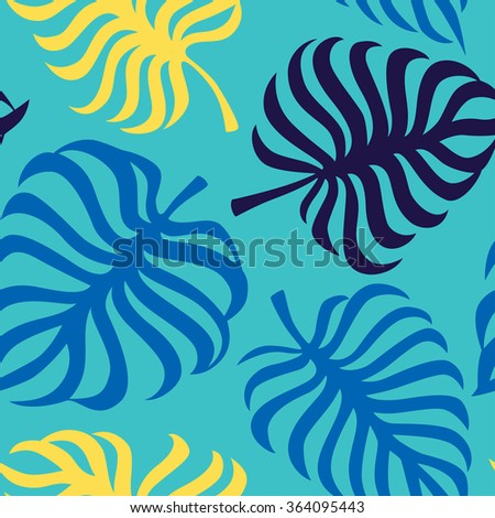 Seamless pattern with tropic leaves of monstera. Vector - stock vector