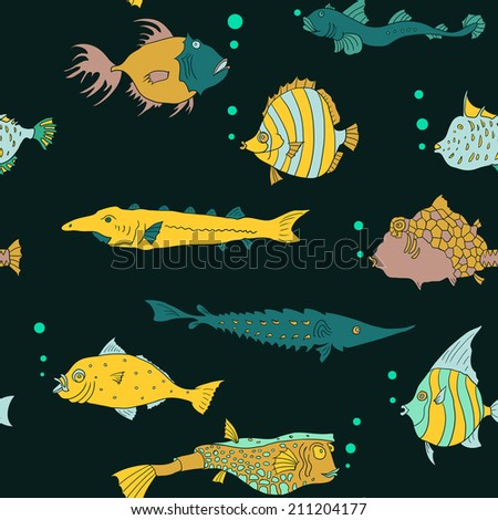 Seamless pattern with tropical fish, hand drawn vector illustration - stock vector