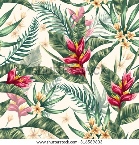 Seamless pattern with tropical flowers in watercolor style - stock vector