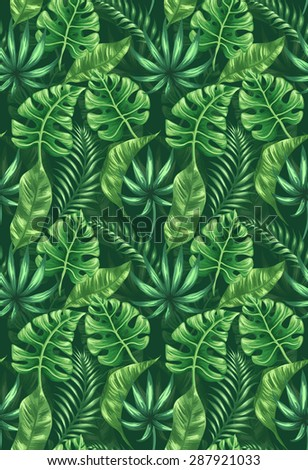 Seamless pattern with tropical palm leaves - stock vector