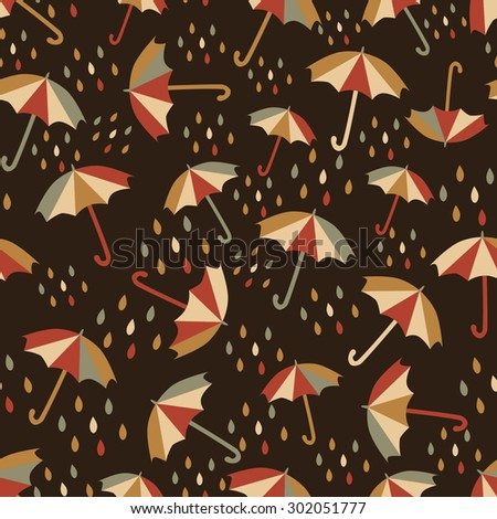 Seamless pattern with umbrellas and rain drops. - stock vector