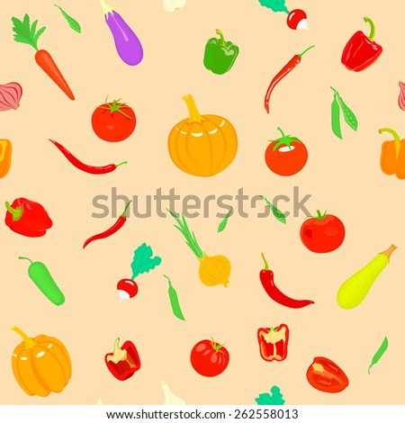 Seamless pattern with vegetables. Can be used for wallpaper, web page background, wrapping, textile and scrapbook. - stock vector