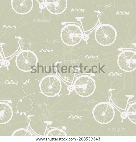 Seamless pattern with vintage bicycles on beige background in retro style. Vector illustration. - stock vector
