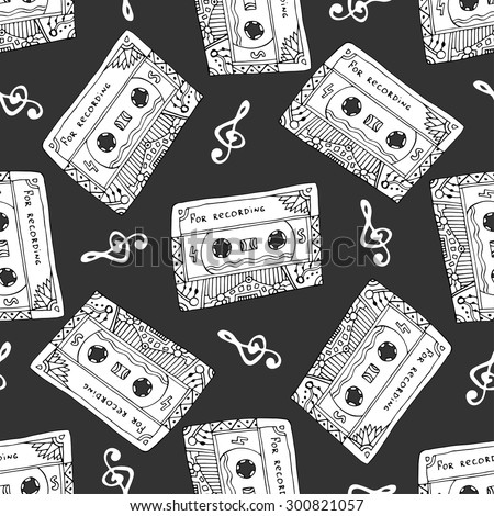 Seamless pattern with vintage cassettes. Black and white music print. Doodle musical texture for wrapping, fabric swatch. Vector design - stock vector