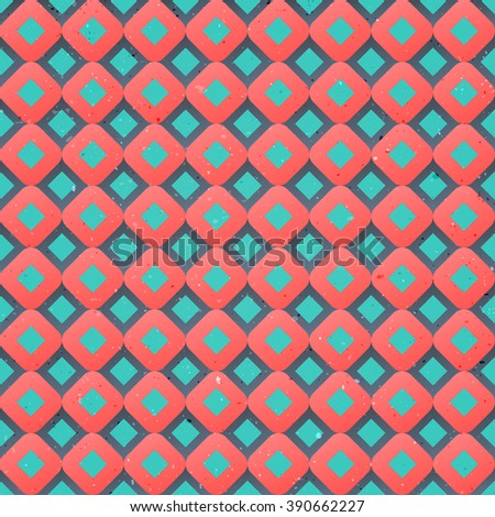 seamless pattern with vintage, geometric ornament over distressed surface texture. vector retro background design. fashion, decorative print template - stock vector