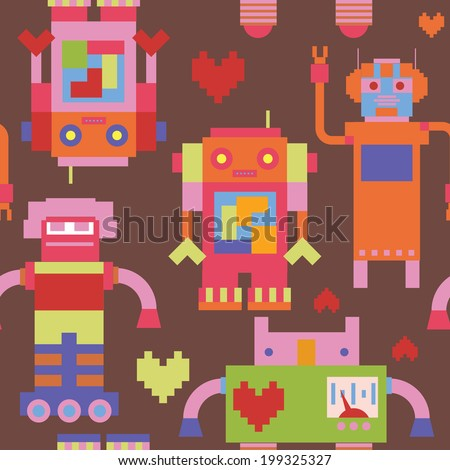 Seamless pattern with vintage robots - stock vector