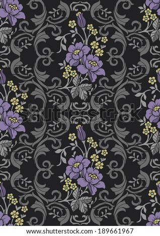 Seamless pattern with violet flowers,vector floral illustration in luxury style - stock vector