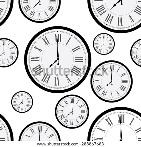 Seamless pattern with wall clock. Clock on wall. Old clock - stock vector