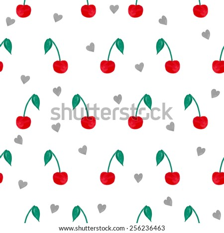 Seamless pattern with watercolor cherries and hearts. Vector illustration - stock vector