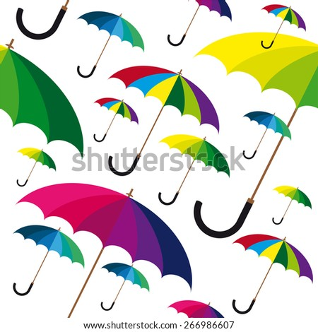 Seamless pattern with watercolor colorful umbrellas. - stock vector
