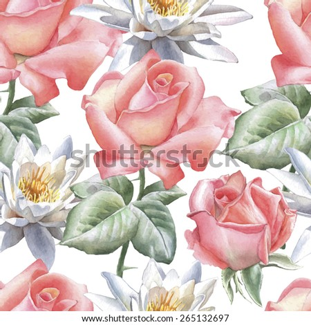 Seamless pattern with watercolor flowers. Rose and lily. Vector. Hand drawn. - stock vector