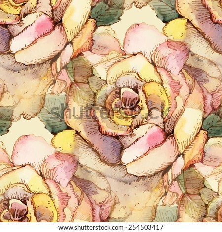 Seamless pattern with watercolor flowers. Vector illustration. - stock vector