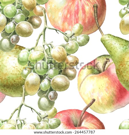 Seamless pattern with watercolor fruits. Hand drawn. - stock vector