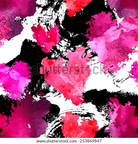 Seamless pattern with watercolor  hearts. Sloppy strokes of a paint.  - stock vector
