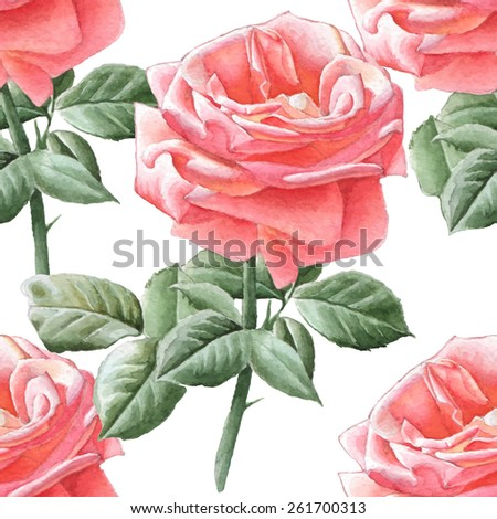 Seamless pattern with watercolor roses. Hand drawn. - stock vector