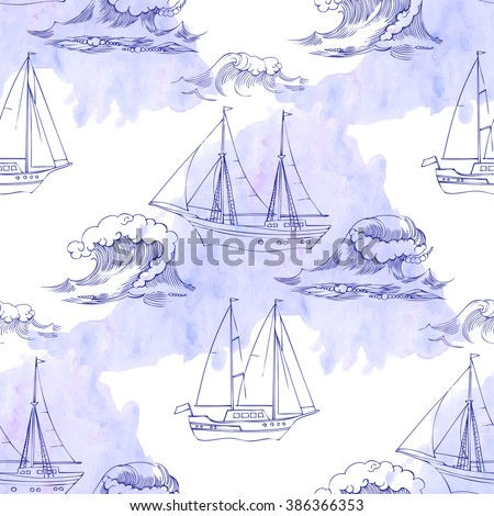 Seamless pattern with waves and ships. Hand drawn vector illustration - stock vector