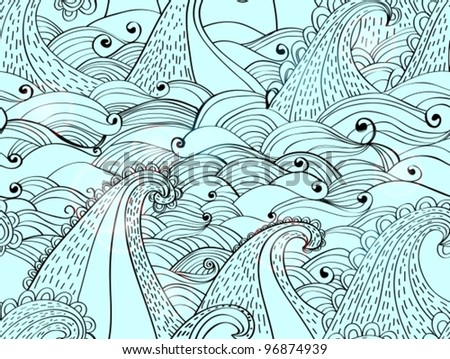 seamless pattern with waves, beautiful blue vector illustration - stock vector