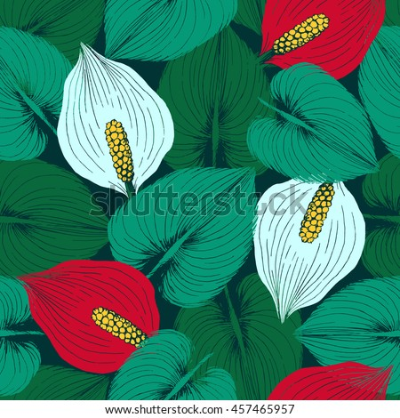 Seamless pattern with white and red forest Wild Calla flowers and leaves. Repeating stylish background perfect for wallpapers,textile and scrapbooking.Vector illustration. - stock vector