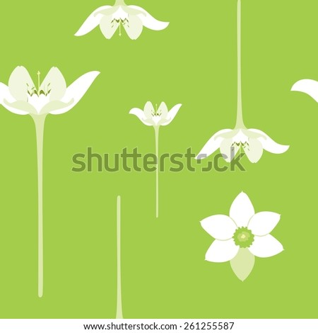 seamless pattern with white flowers on a green background - stock vector