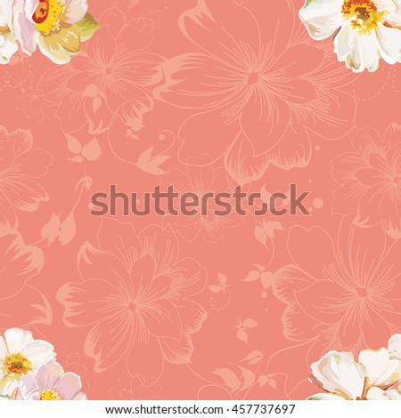 Seamless pattern with white flowers Vector Illustration EPS8 - stock vector