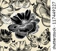 Seamless pattern with wild roses and butterflies, hand drawing. Vector illustration. - stock vector
