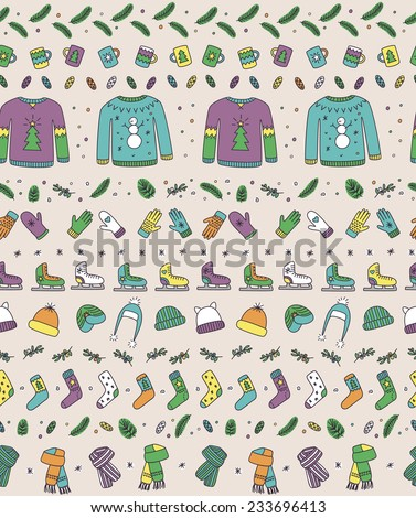 Seamless pattern with winter season accessories 1 - stock vector