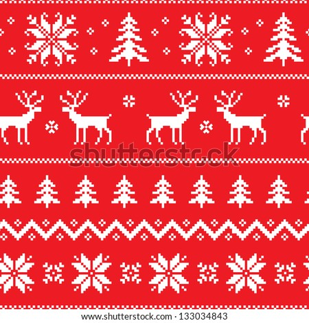 Seamless pattern with winter sweater design - deer, snowflake and christmas tree - stock vector