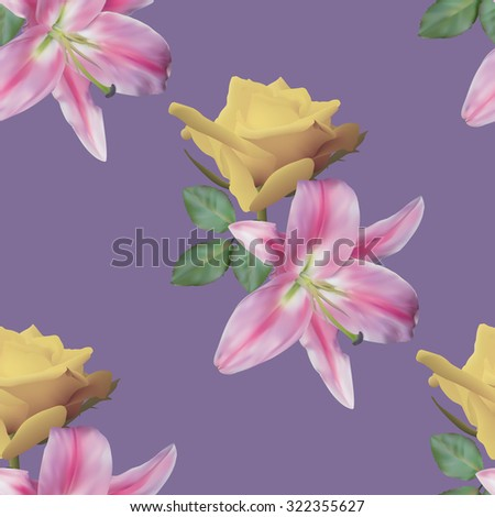 Seamless pattern with yellow rose and lily on violet background..Vector illustration. - stock vector