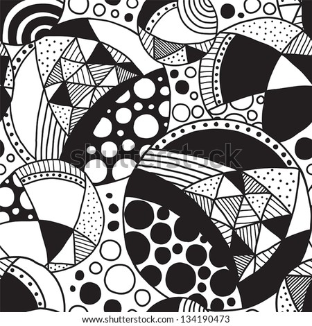 seamless patterned texture with abstract elements in black and white - stock vector