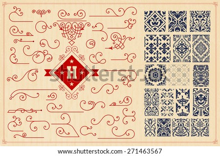 Seamless Patterns and accents - stock vector